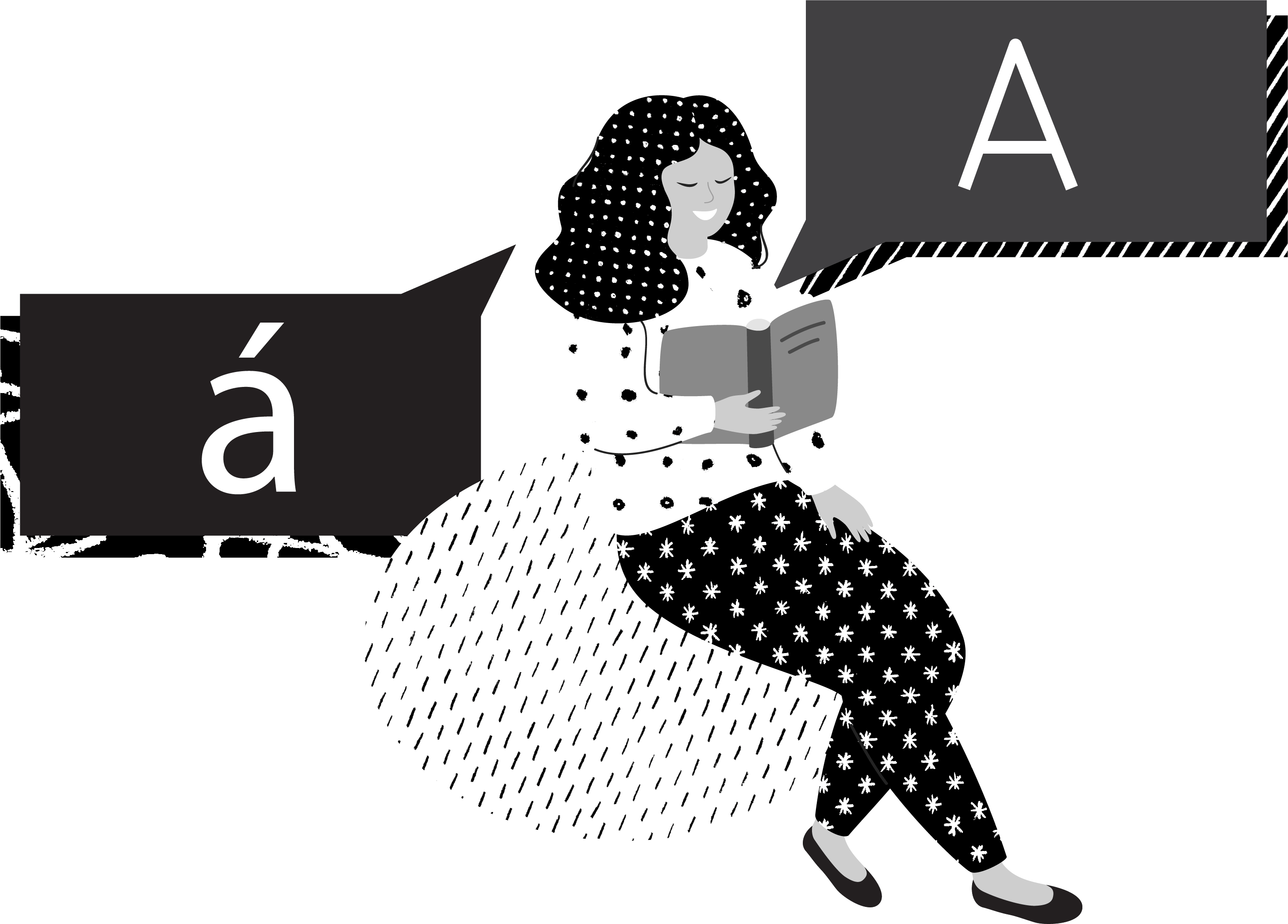 girl with two speech bubbles, one an 'A', the other an accented 'a'.