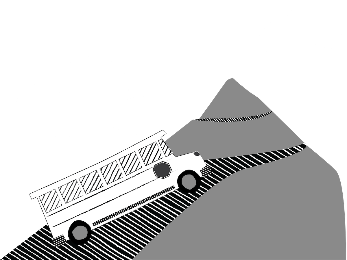 Bus driving up mountain